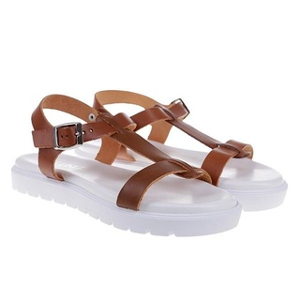 Sandale sport din piele naturala Dunya maro