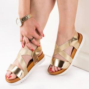 Sandale cu talpa joasa comoda Marta auriu