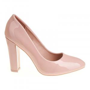 Pantofi office cu toc gros inalt Mia roz