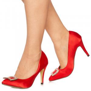 Pantofi cu toc inalt din satin Lorenza