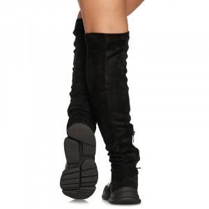 Cizme peste genunchi cu talpa sport Paris negru