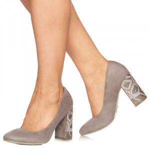 Pantofi cu toc inalt din velur Grazia gri