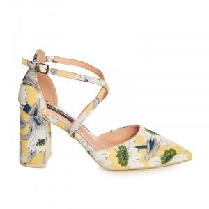 Pantofi cu toc mediu gros Anouska alb
