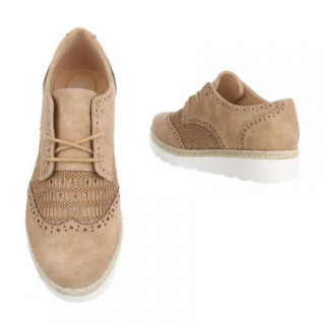 Pantofi dama cu siret , Camel
