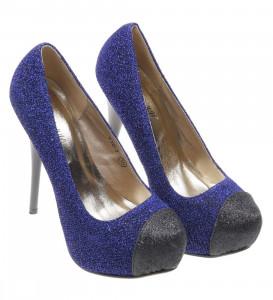 Pantofi de dama blue/negru Glitter