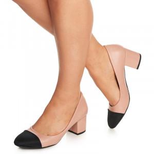 Pantofi office cu toc mediu Althaia roz cu negru