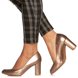 Pantofi office cu toc mediu gros Adelina auriu