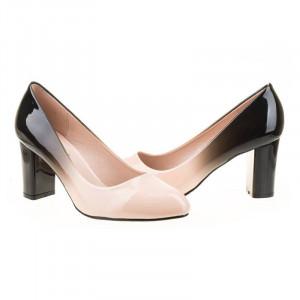 Pantofi office cu toc mediu si doua nuante de culoare din lac Adriana