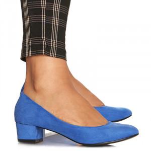 Pantofi office cu toc mic din velur Alma albastru