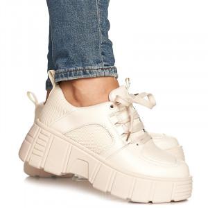 Pantofi sport cu talpa inalta Gloria bej