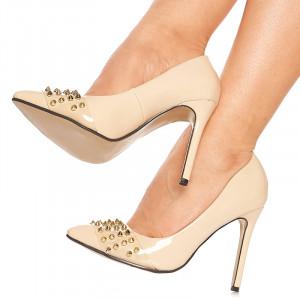 Pantofi stiletto cu toc inalt Anais bej