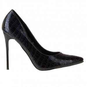 Pantofi stiletto cu toc inalt croco Andra