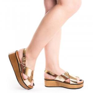 Sandale cu platforma Gerasole auriu