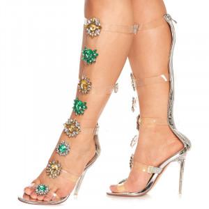 Sandale cu toc inalt deosebite Amalia argintiu