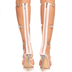 Sandale cu toc inalt deosebite Amalia roz