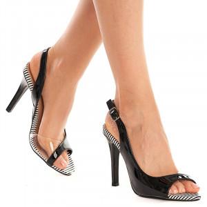 Sandale cu toc inalt din lac Amalia nero