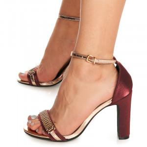 Sandale cu toc inalt din satin Anais