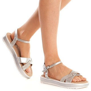 Sandale Dama Argintii cu Talpa Joasa Amira