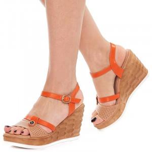 Sandale Dama cu Platforma Olivia bej cu portocaliu