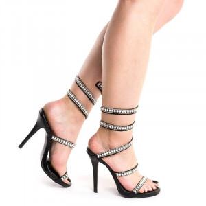Sandale dama cu toc elegante Alessia negru