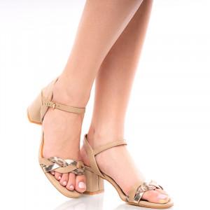 Sandale dama dama cu toc mic Gailana nude