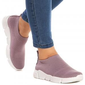 Sneakers dama din material elastic Sandra mov