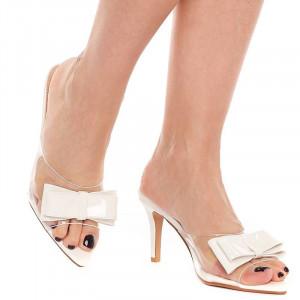 Saboti trendy cu toc mediu Olivia bianco
