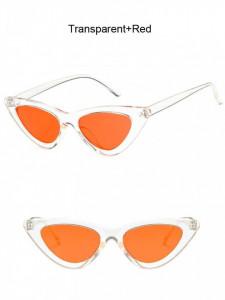 Ochelari de soare retro ochi de pisica Giuliana transparent cu lentila rosie