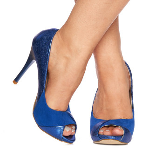 Pantofi cu toc inalt peep toe Lisa albastru