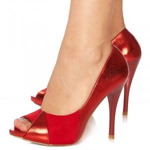 Pantofi cu toc inalt peep toe Lisa