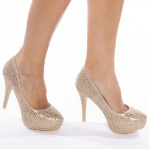 Pantofi cu toc inalt si platforma din velur Carmela