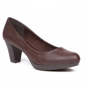 Pantofi dama, casual cu toc mic, Maron.