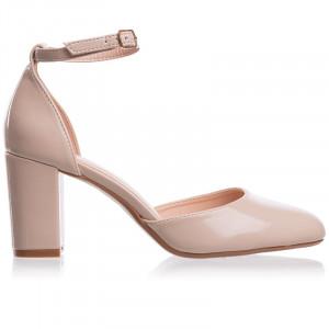 Pantofi dama decupati cu toc mediu gros Giulia bej