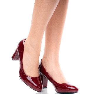 Pantofi dama office din lac cu toc gros Roza bordo