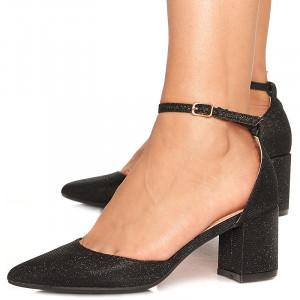 Pantofi de ocazie cu toc mediu decupat Antonia negru