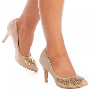 Pantofi de ocazie cu toc mediu Maria auriu