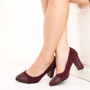 Pantofi office cu toc gros comod in combinatie cu velur velur Anabella maro