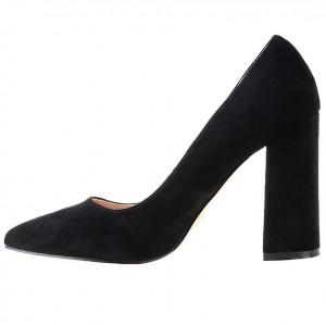 Pantofi office cu toc gros din velur Salma blk