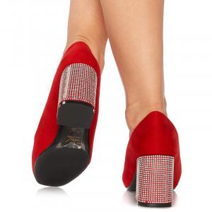 Pantofi office cu toc mediu din velur Giustina