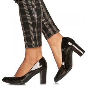 Pantofi office cu toc mediu gros Adelina negru