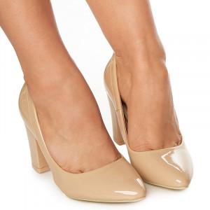 Pantofi office cu toc mediu gros Arlette bej