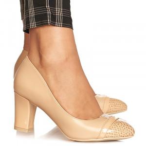 Pantofi office cu toc mediu gros Emilia bej