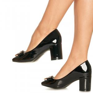 Pantofi office cu toc mediu gros Madelina negru