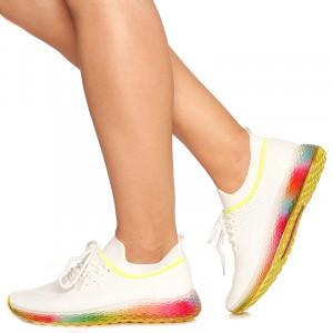Pantofi sport Cecilia alb cu verde