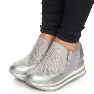 Pantofi sport cu talpa inalta Dima argintiu