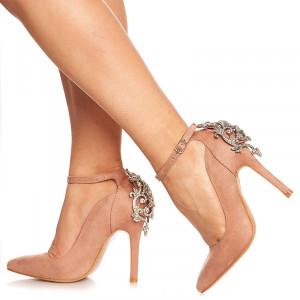 Pantofi stiletto cu toc inalt din velur Adelle roz