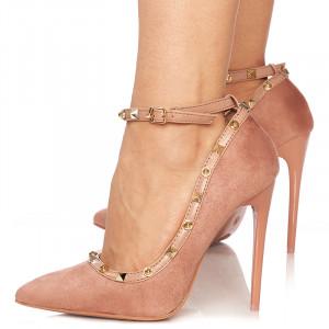 Pantofi stiletto cu toc inalt din velur Alma