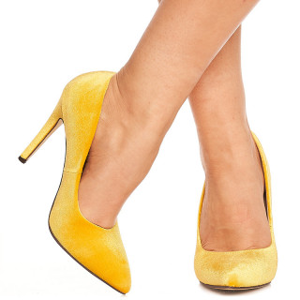 Pantofi stiletto cu toc inalt din velur Noela galben