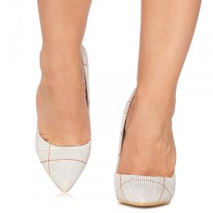 Pantofi stiletto cu toc inalt Graziella alb