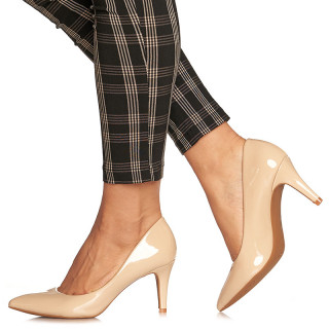 Pantofi stiletto cu toc mediu Angela bej